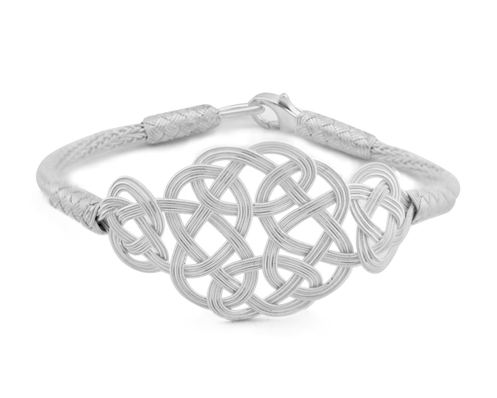 1000 Ayar Gümüş Beyaz Kazaz El Örmesi Bileklik