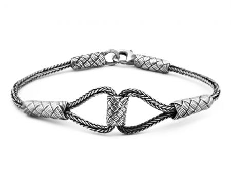 1000 Ayar Gümüş Kazaz El Örmesi Bileklik - Thumbnail