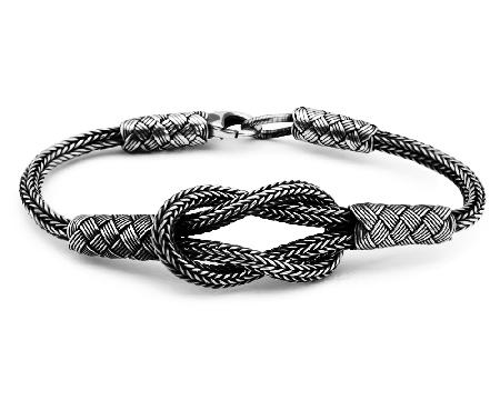 El İşçiliği Düğüm Tasarım 1000 Ayar Gümüş Kazaz Bileklik - Thumbnail
