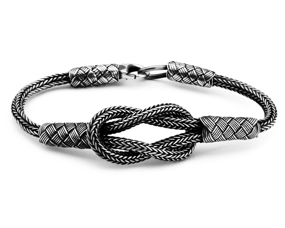 El İşçiliği Düğüm Tasarım 1000 Ayar Gümüş Kazaz Bileklik