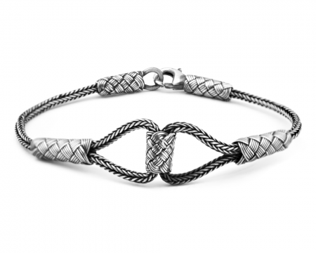 1000 Ayar Gümüş Kazaz El Örmesi Bayan Bileklik-2 - Thumbnail