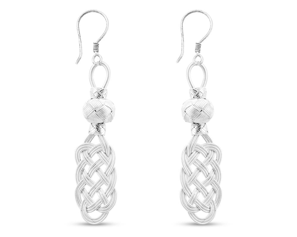 1000 Ayar Gümüş Kazaz El Örmesi Küpe (Model-4)