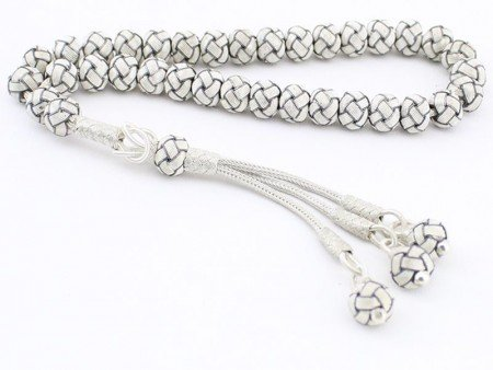 1000 Ayar Gümüş Kazaz Örme Siyah Beyaz Tesbih - Thumbnail