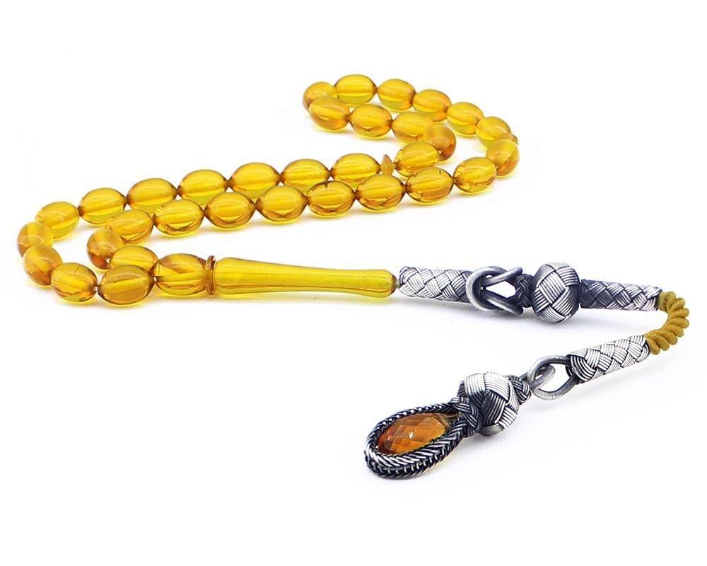 1000 Ayar Gümüş Kazaz Püsküllü Arpa Kesim Sarı Sıkma Kehribar Tesbih