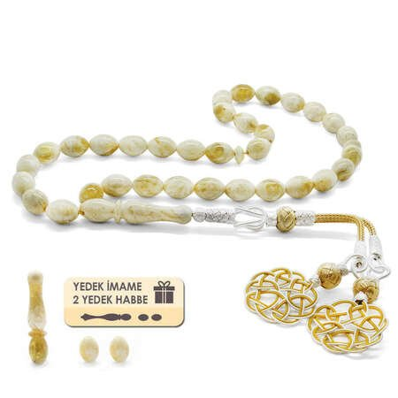 1000 Ayar Gümüş Kazaz Püsküllü Arpa Kesim King Seccer Beyaz Damla Kehribar Tesbih - Thumbnail