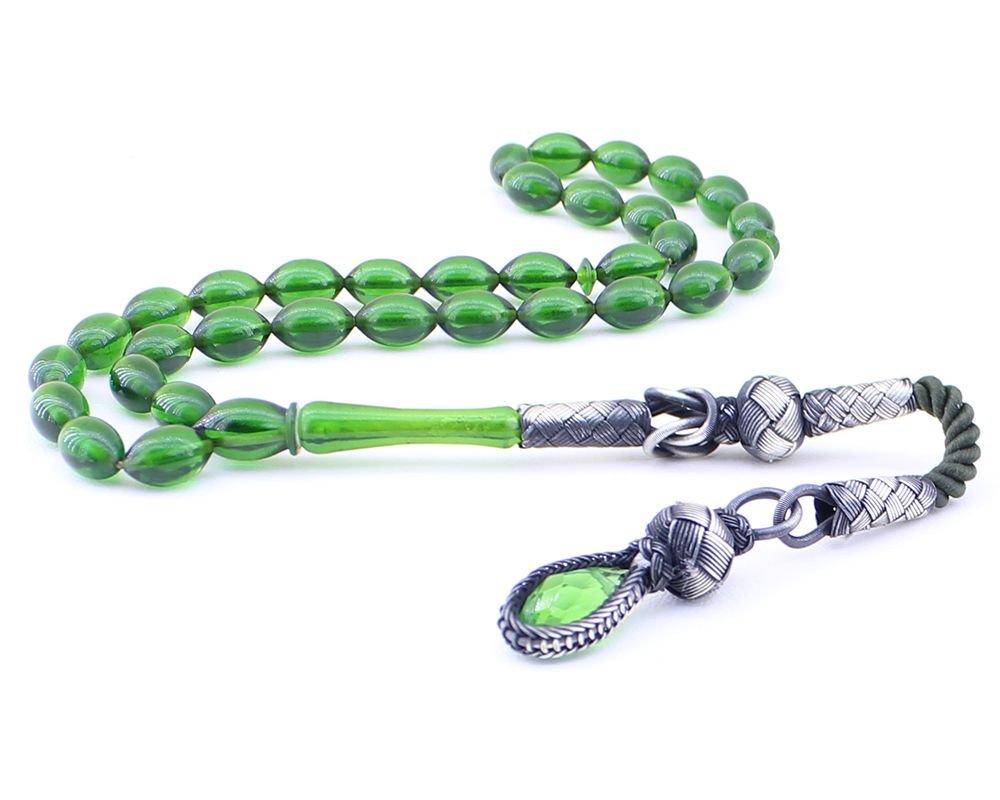1000 Ayar Gümüş Kazaz Püsküllü Arpa Kesim Yeşil Sıkma Kehribar Tesbih