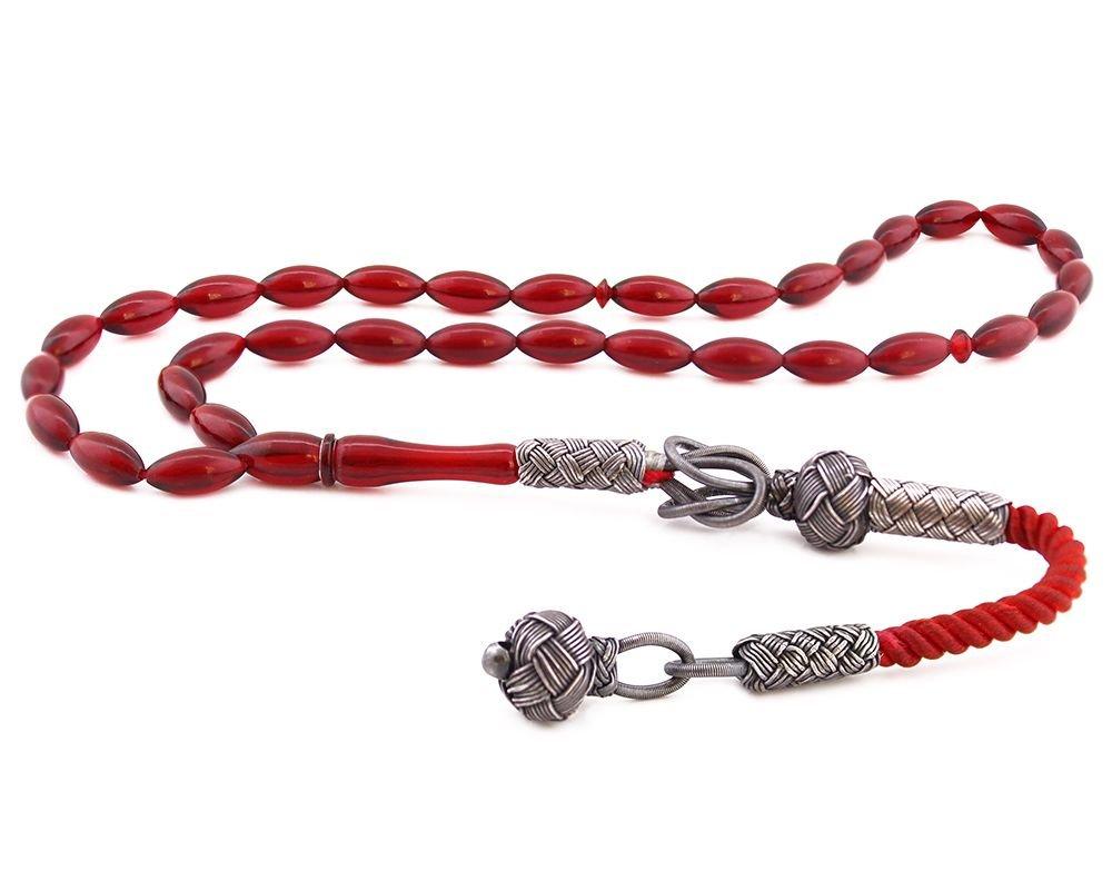 1000 Ayar Gümüş Kazaz Püsküllü Kırmızı Sıkma Kehribar
