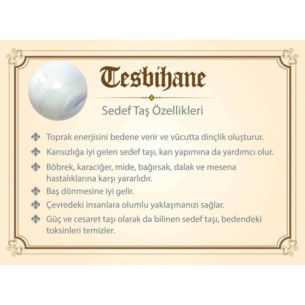 1000 Ayar Gümüş Kazaz Püsküllü Küre Kesim Beyaz-Kahve Sedef Doğaltaş Tesbih
