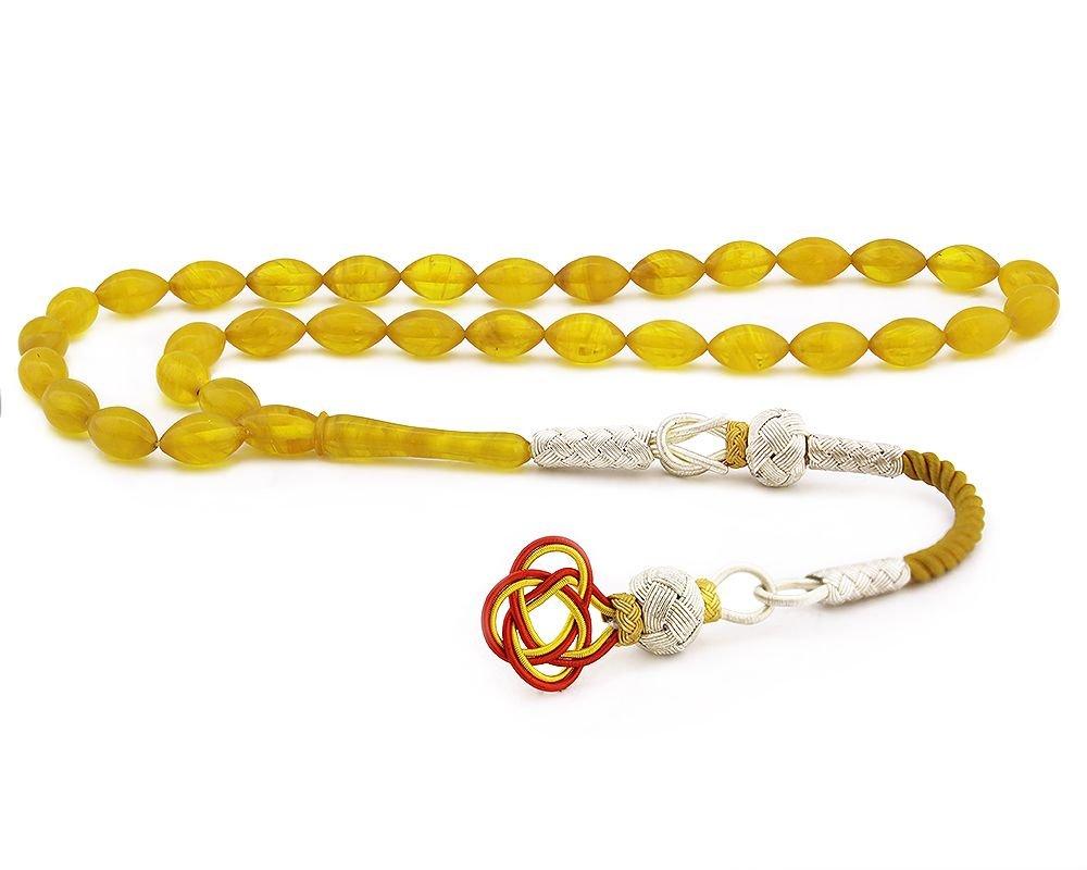 1000 Ayar Gümüş Kazaz Püsküllü Sarı Sıkma Kehribar Tesbih (Model 1)