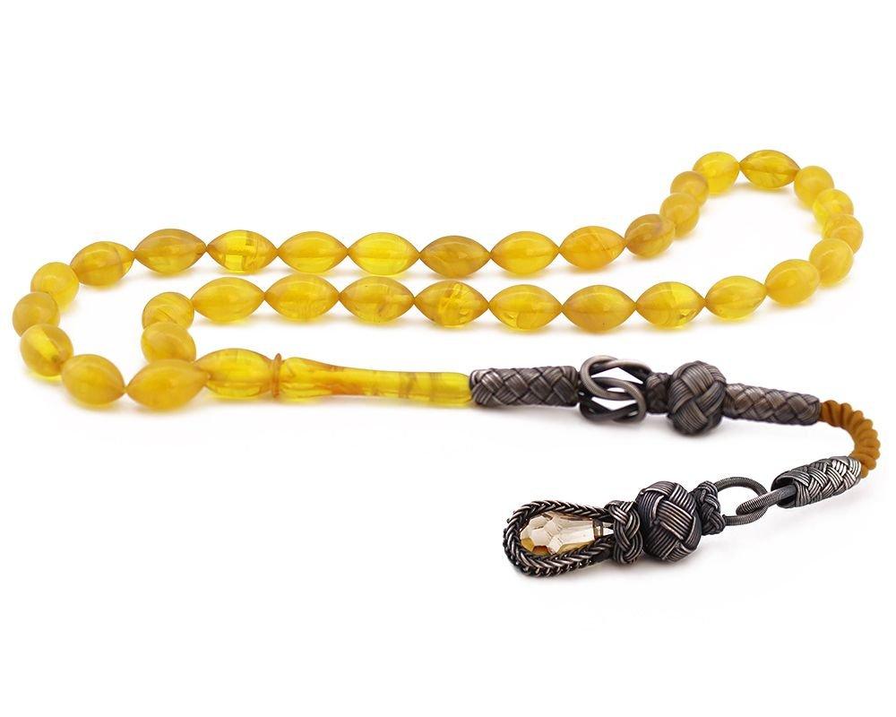 1000 Ayar Gümüş Kazaz Püsküllü Sarı Sıkma Kehribar Tesbih (Model 2)