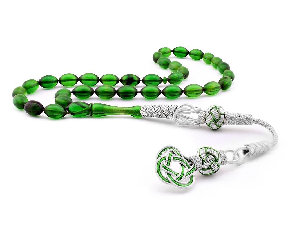 1000 Ayar Gümüş Kazaz Püsküllü Yeşil Renk Sıkma Kehribar Tesbih