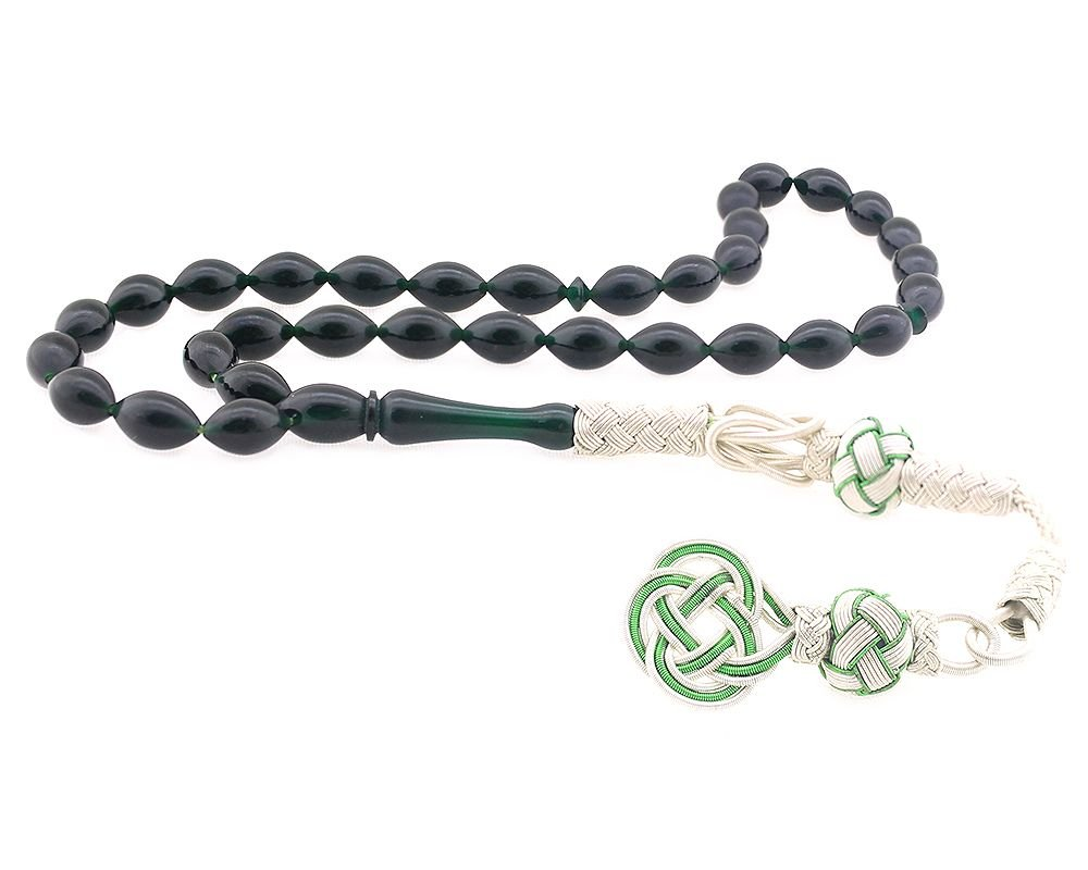 1000 Ayar Gümüş Kazaz Püsküllü Yeşil Sıkma Kehribar Tesbih 2