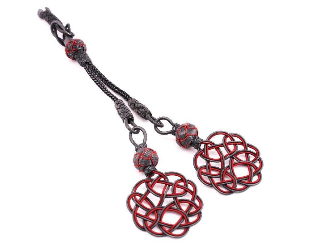 Gri-Kırmızı Renk 2'li 1000 Ayar Gümüş Kazaz Püskül