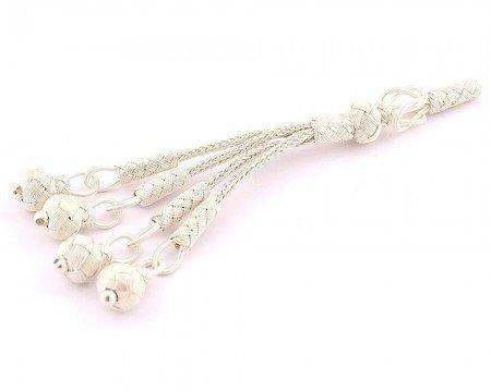 Beyaz Renk 4′lü 1000 Ayar Gümüş Top Kazaz Püskül - Thumbnail