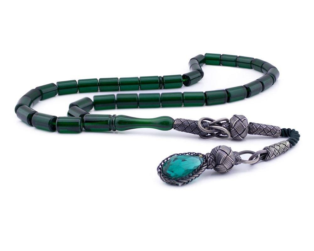 1000 Ayar Gümüş Kazaziye Püsküllü Kapsül Kesim Yeşil Renk Sıkma Kehribar Tesbih