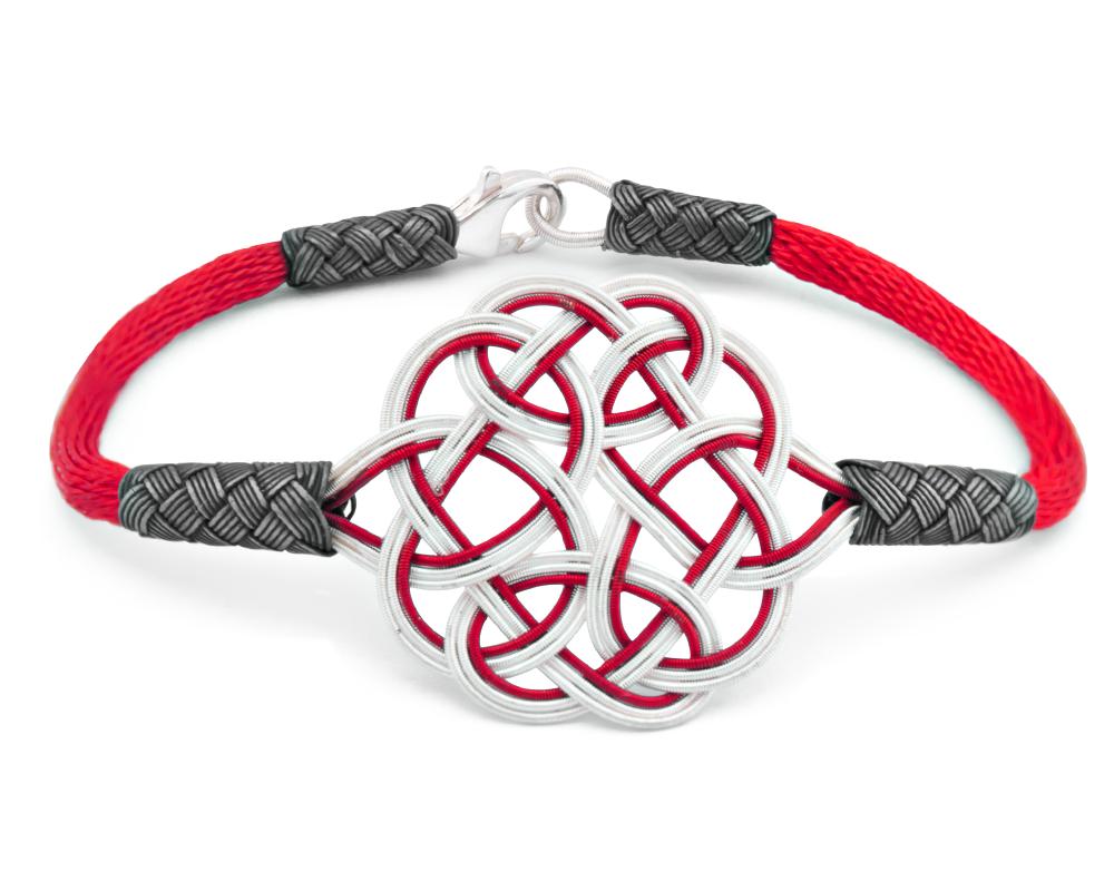 1000 Ayar Gümüş Kırmızı Kazaz El Örmesi Bileklik