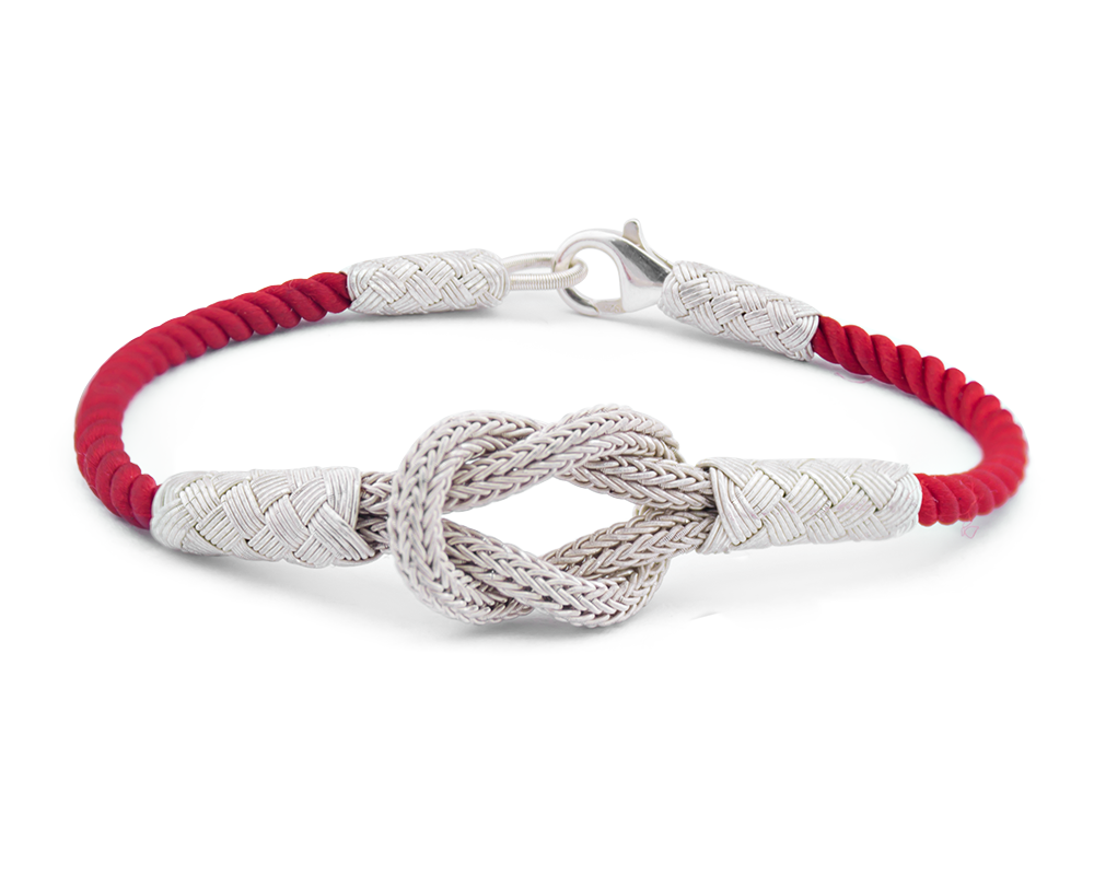 1000 Ayar Gümüş Kırmızı Zarif Kazaz El Örmesi Bileklik