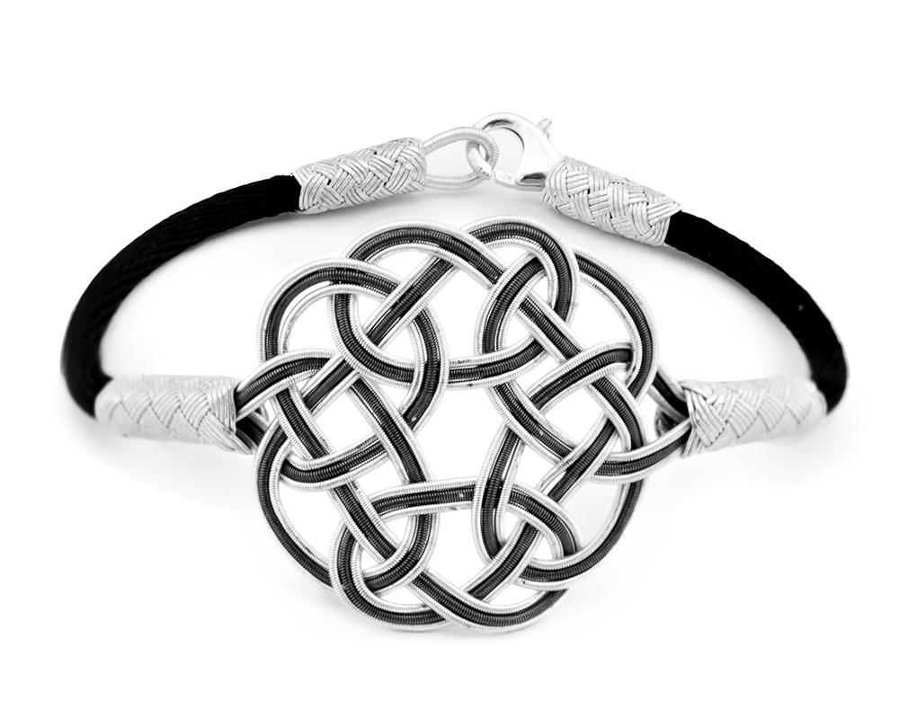 1000 Ayar Gümüş Siyah Beyaz Kazaz El Örmesi Bileklik