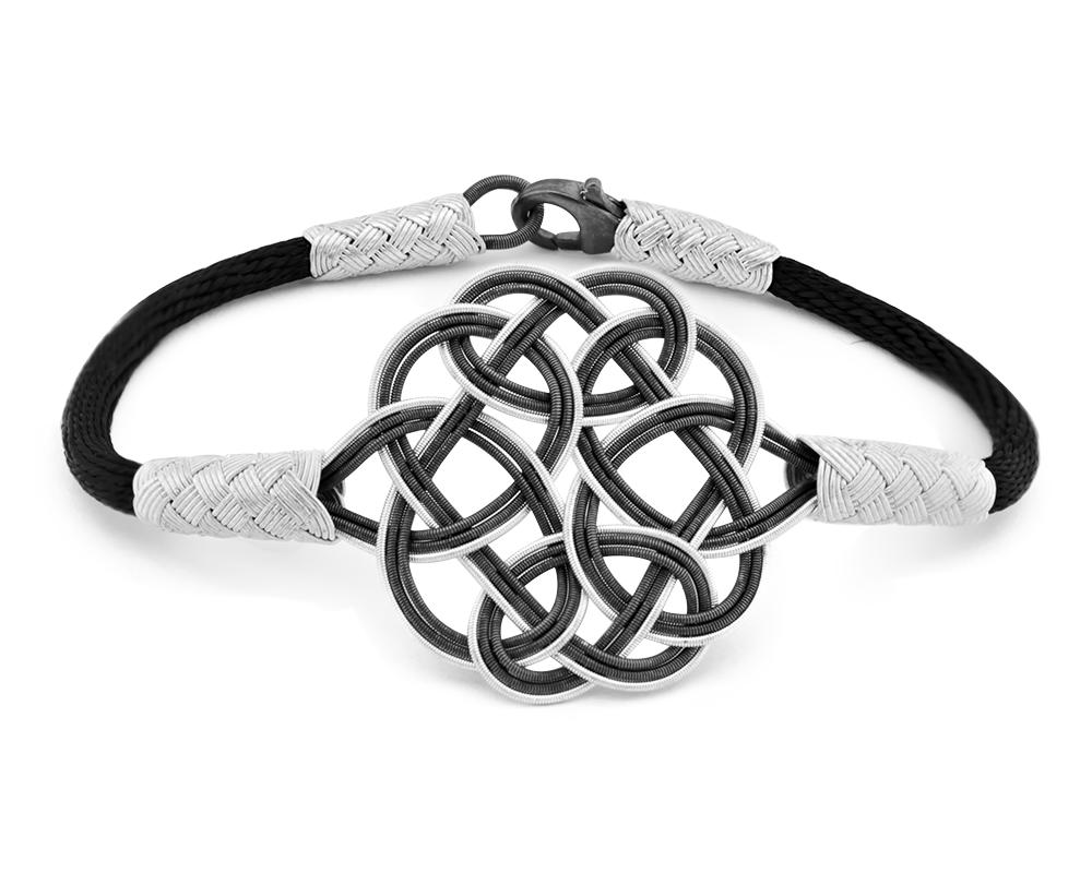 1000 Ayar Gümüş Siyah Kazaz El Örmesi Bileklik (model 2)