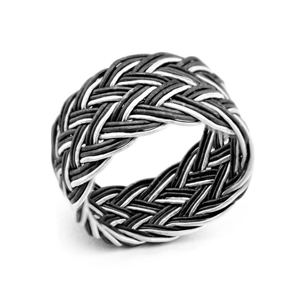 Siyah-Beyaz Renkli 1000 Ayar Gümüş Trabzon El Örmesi Kazaz Yüzük