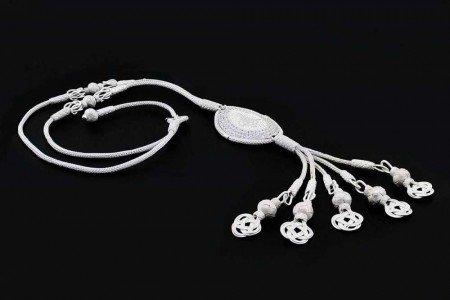 1000 Ayar Gümüş Tuğra ve Zirkon Taşlı Kazaz El Örmesi Kolye - Thumbnail