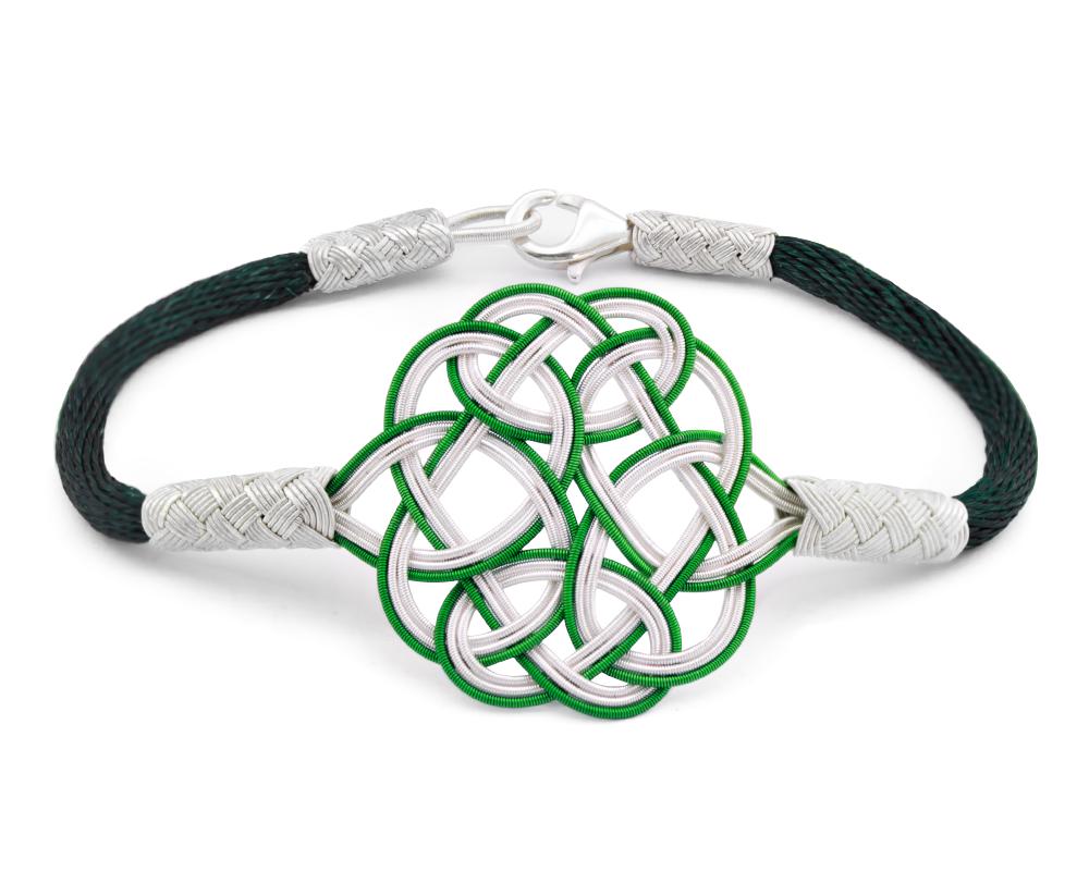 1000 Ayar Gümüş Yeşil Beyaz Kazaz El Örmesi Bileklik