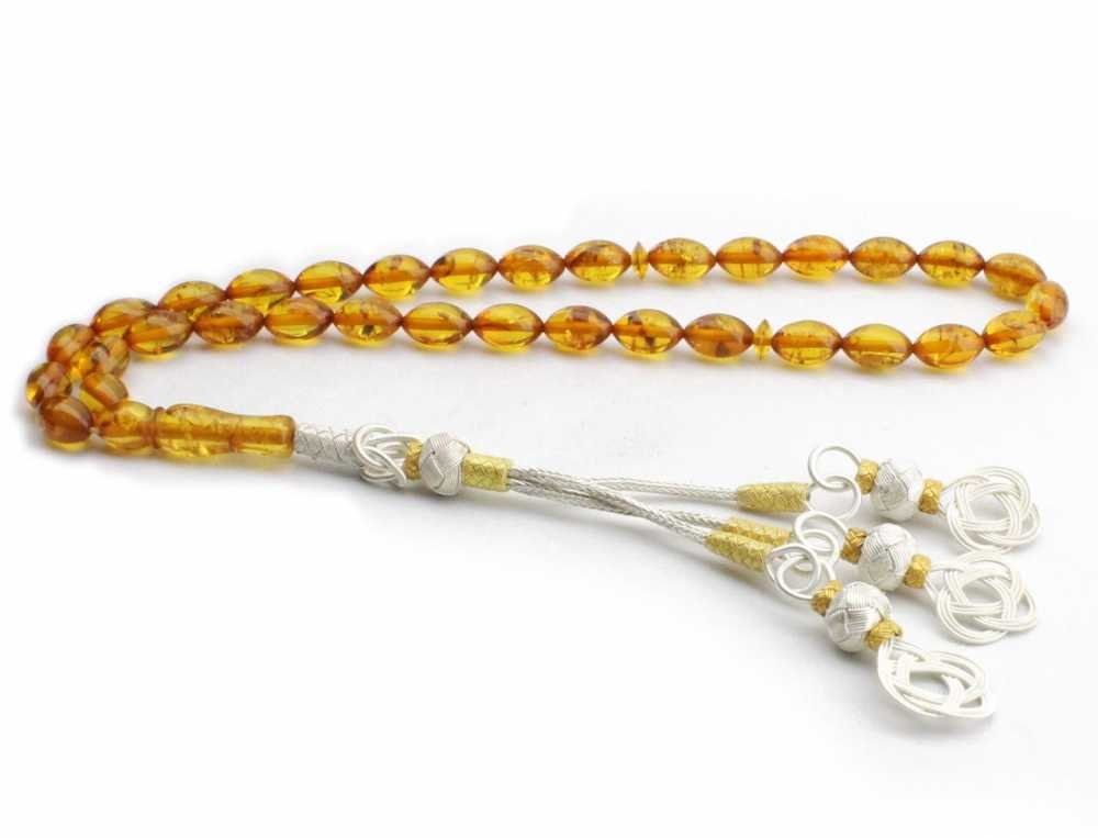 1000 Ayar Gümüşlü Orjinal Kehribar Tesbih (Arpa Kesim)