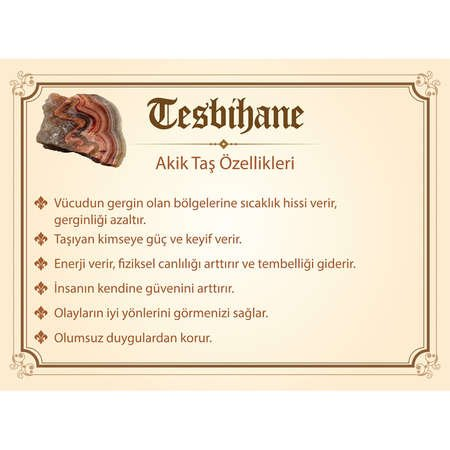 1000 Ayar Gümüş Kazaz Püsküllü Doğaltaş Akik Tesbih - Thumbnail
