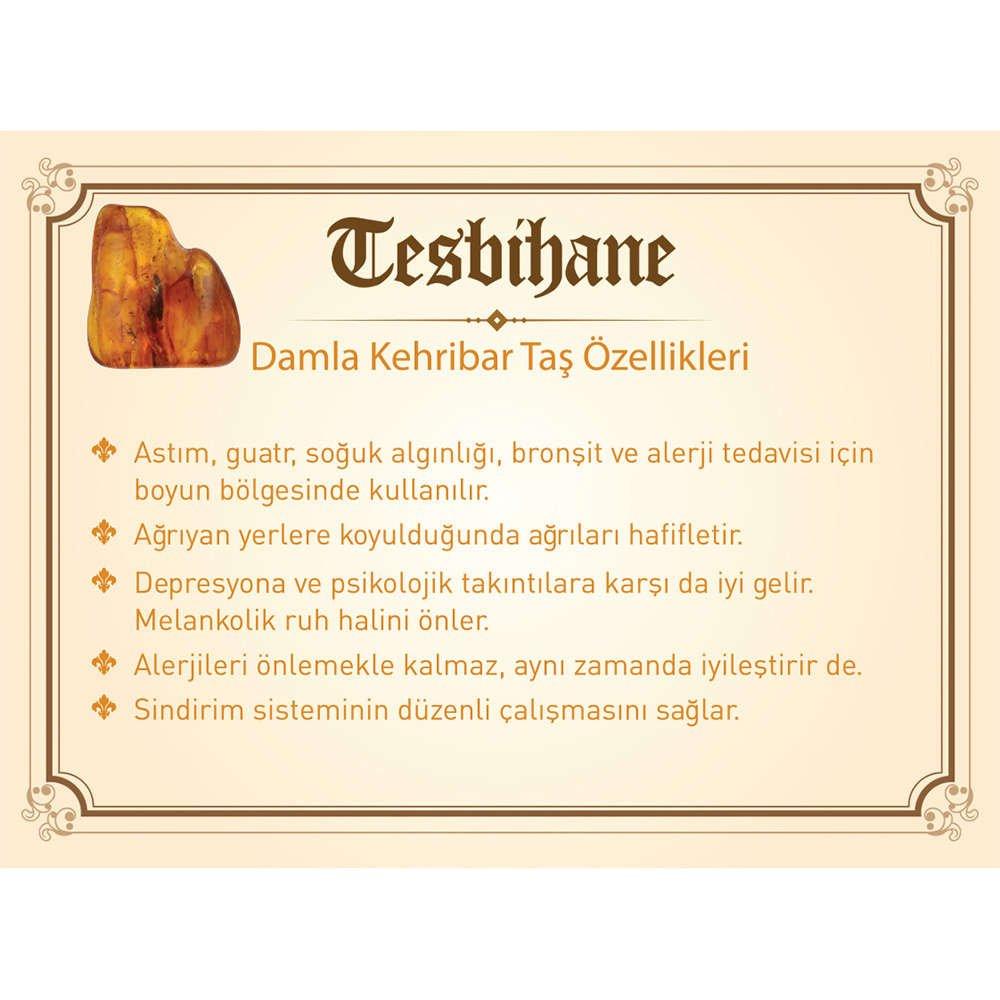 1000 Ayar Gümüş Kazaz Püsküllü Kapsül Kesim Bal Rengi Damla Kehribar Tesbih(M-1)