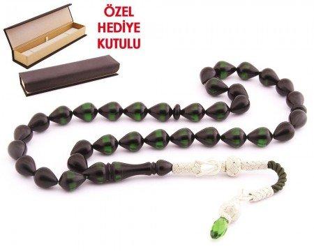 1000 Ayar Kazaz Püsküllü Damla Kesim Sürmeli Sıkma Kehribar Tesbih - Thumbnail