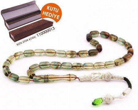 1000 Ayar Kazaz Püsküllü Kapsül Kesim Süzme Yeşil Sıkma Kehribar Tesbih - Thumbnail