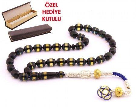 1000 Ayar Kazaz Püsküllü Kapsül Kesim Sürmeli Sıkma Kehribar Tesbih - Hediye Kutulu - Thumbnail