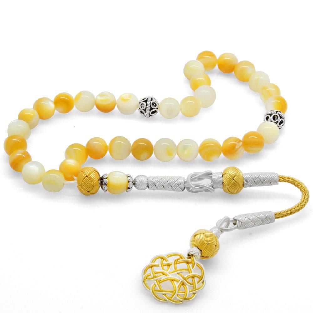 1000 Ayar Gümüş Kazaz Püsküllü Küre Kesim Sarı Sedef Doğaltaş Tesbih