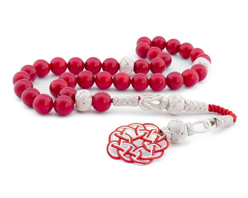 1000 Ayar Kazaz Püsküllü Küre Kesim Kırmızı Mercan Tesbih