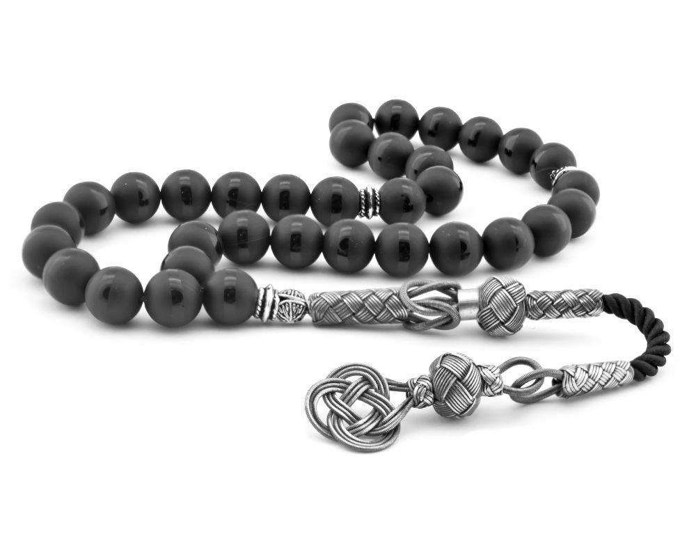 1000 Ayar Gümüş Kazaz Püsküllü Küre Kesim Siyah Oniks Doğaltaşlı Tesbih
