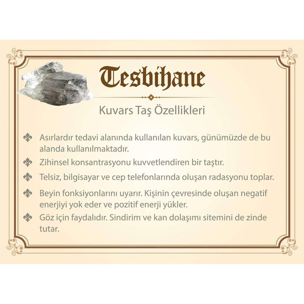 1000 Ayar Gümüş Kazaz Püsküllü Küre Kesim Kuvars Doğaltaş Tesbih