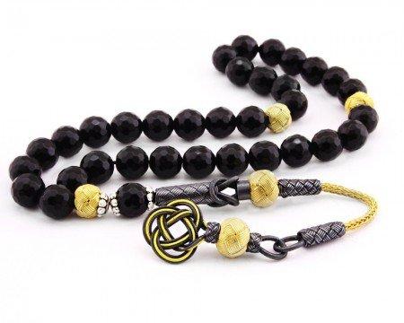 1000 Ayar Gümüş Kazaz Püsküllü Faset Küre Kesim Sarı-Siyah Oniks Doğaltaş Tesbih - Thumbnail