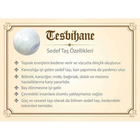 925 Ayar Gümüş Püsküllü Küre Kesim Sedef Doğaltaş Tesbih - Thumbnail