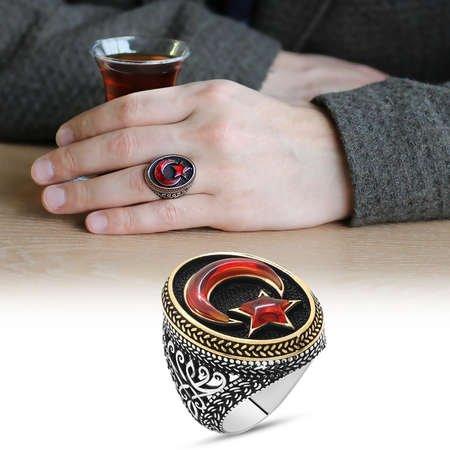 3D Tasarım Kırmızı Kehribar Ayyıldız Dolgulu 925 Ayar Gümüş Erkek Yüzük - Thumbnail