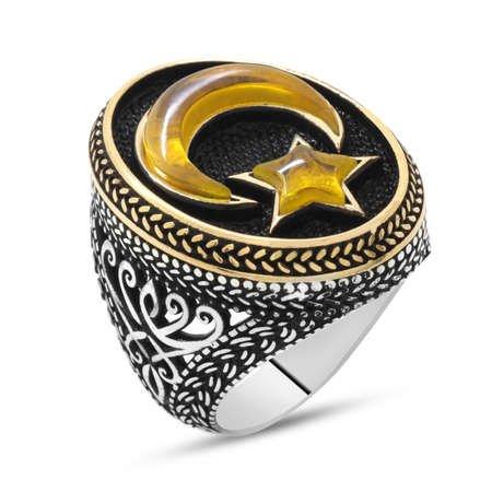 3D Tasarım Sarı Kehribar Ayyıldız Dolgulu 925 Ayar Gümüş Erkek Yüzük - Thumbnail