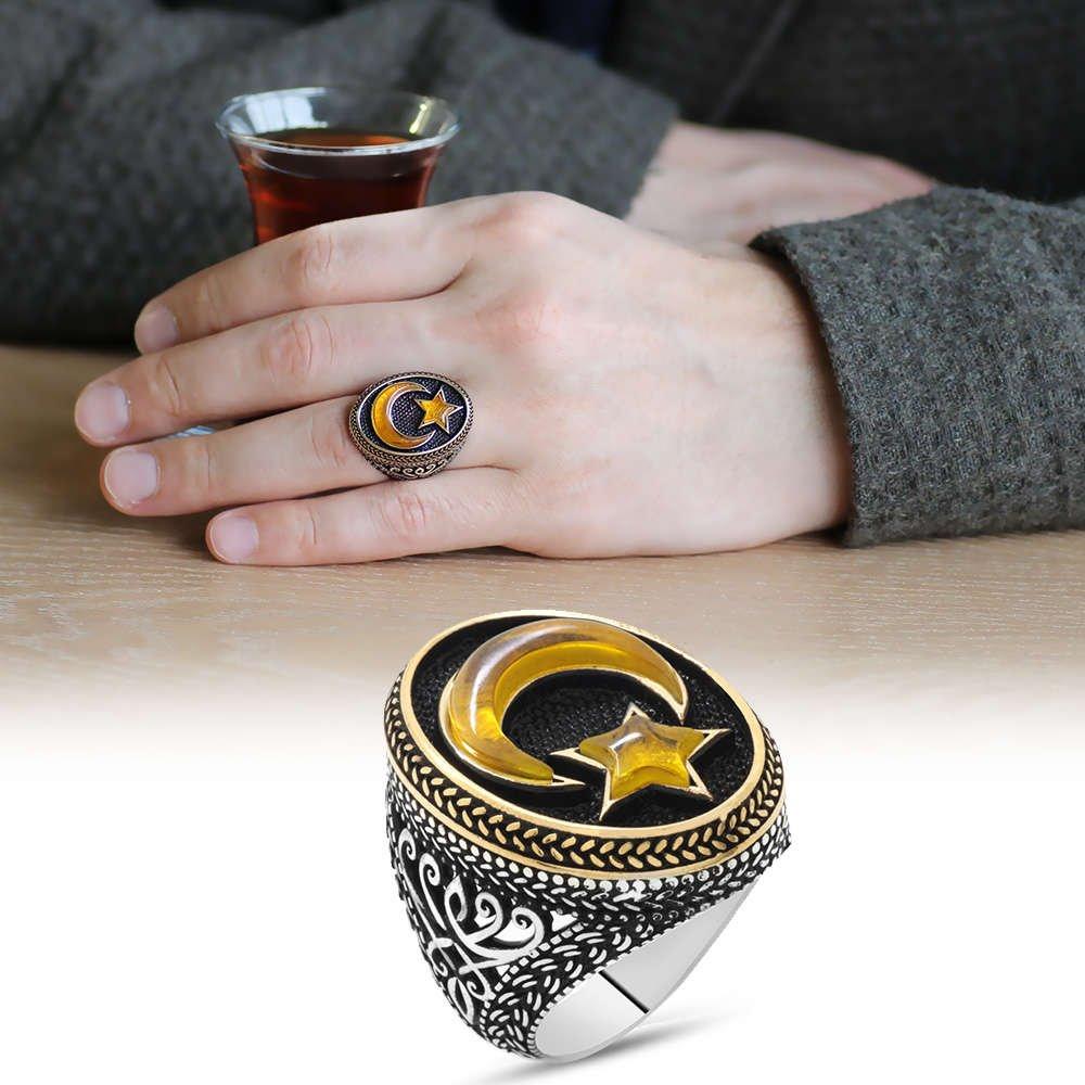 3D Tasarım Sarı Kehribar Ayyıldız Dolgulu 925 Ayar Gümüş Erkek Yüzük