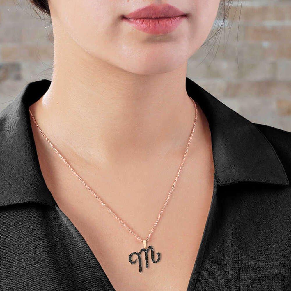3D Tasarım Siyah Zirkon Taşlı 925 Ayar Gümüş El Yazısı Harf Kolye