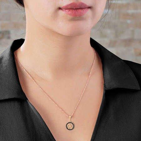 3D Tasarım Siyah Zirkon Taşlı 925 Ayar Gümüş Harf Kolye