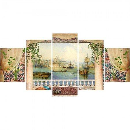 5 Parça Cami ve Şehir Manzaralı Kanvas Tablo (Model-2) - Thumbnail
