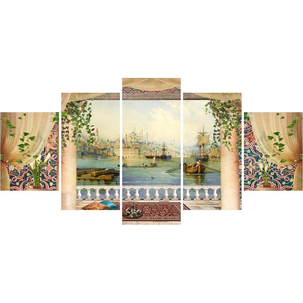 5 Parça Cami ve Şehir Manzaralı Kanvas Tablo (Model-2)