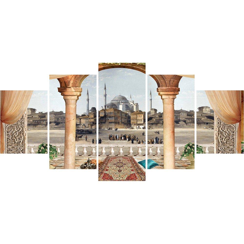 5 Parça Cami ve Şehir Manzaralı Kanvas Tablo (Model-3)
