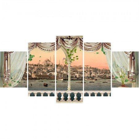 5 Parça Cami ve Şehir Manzaralı Kanvas Tablo - Thumbnail