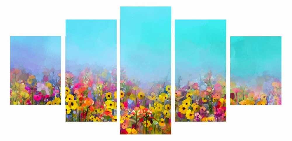 5 Parça Çiçek Temalı Kanvas Tablo