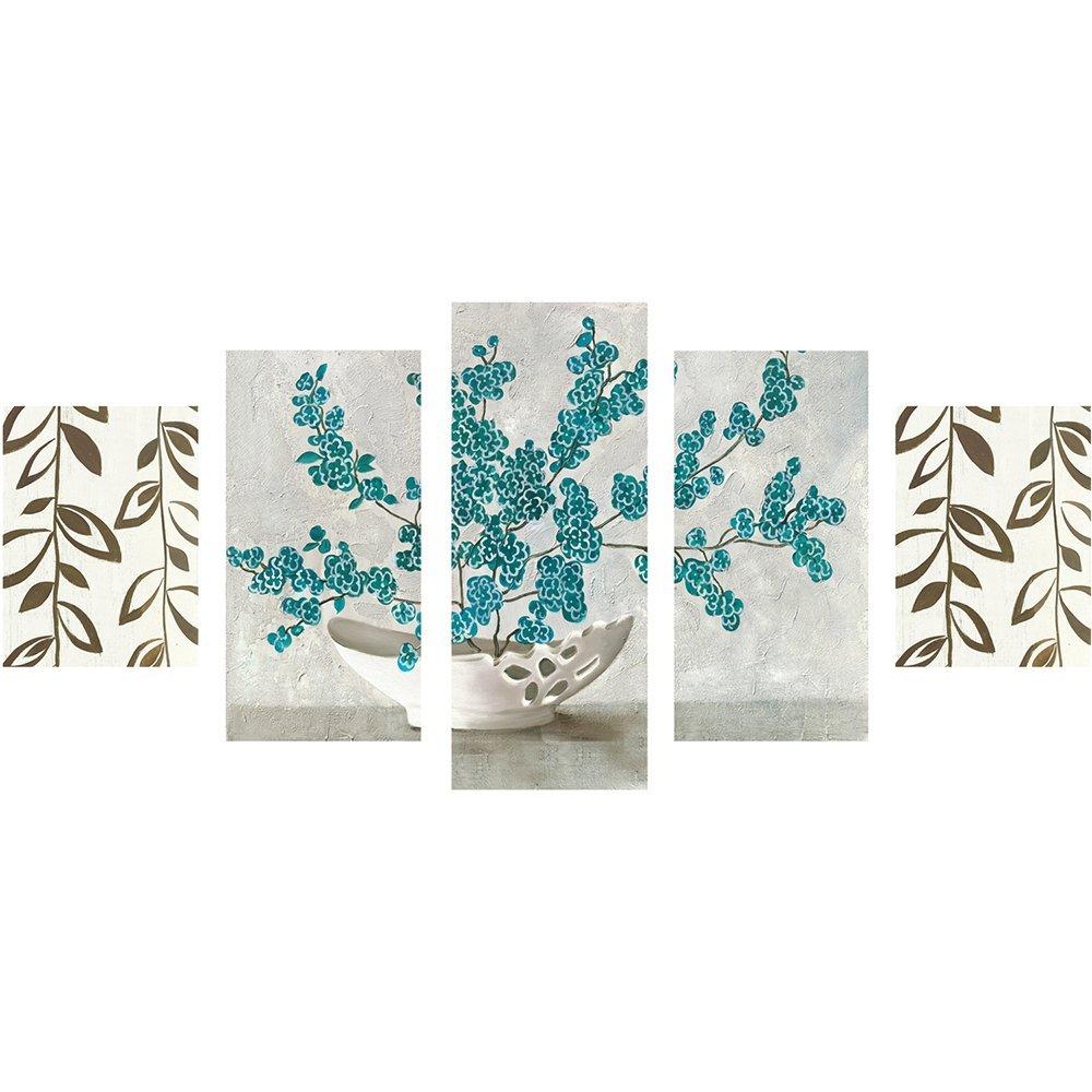 5 Parça Çiçek Vazo Temalı Kanvas Tablo