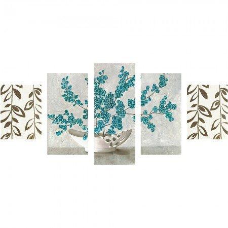 5 Parça Çiçek Vazo Temalı Kanvas Tablo - Thumbnail